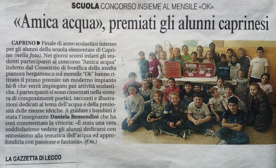 Scuola Primaria Caprino Bergamasco - Ne parlano i giornali (3)