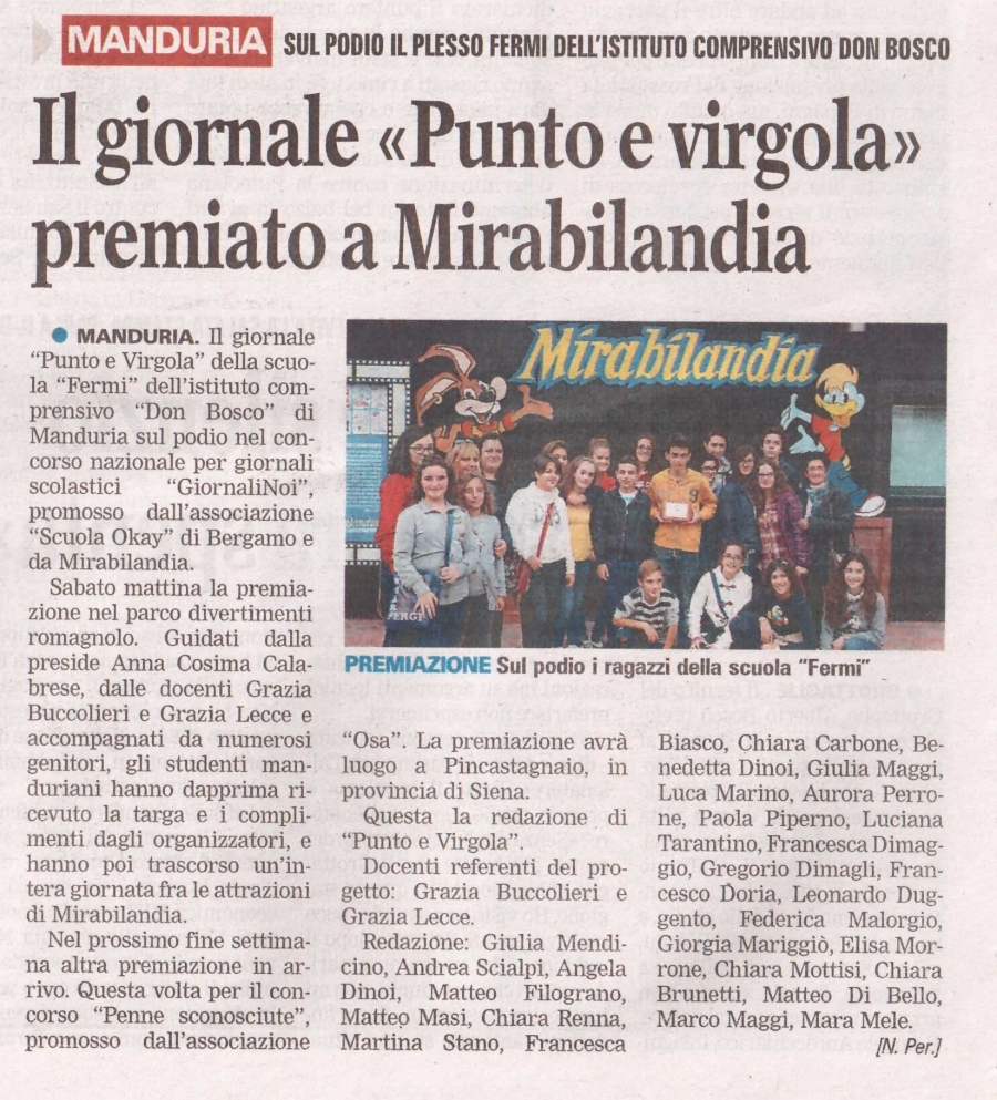 """GiornaliNoi 2013 / La Scuola di Manduria su """"La Gazzetta del Mezzogiorno"""" - Segnalazione a cura di Nando Perrone"""