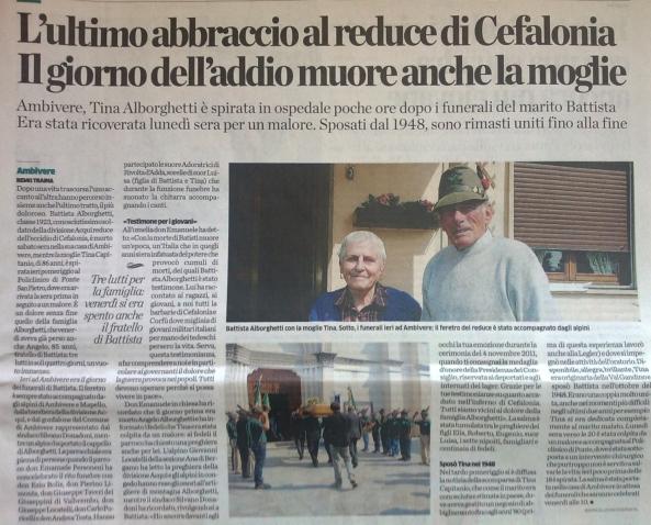 La notizia della scomparsa di Tina e Battista in un articolo de L'Eco di Bergamo a firma di Remo Traina.