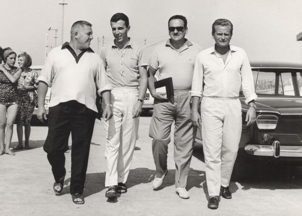 Gianni Brera, Giorgio Ghezzi e Giampiero Boniperti a Cesenatico per il Processo al Calcio 1965 (FotoNanni)