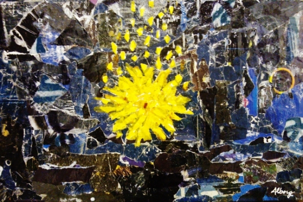 Norcia, Una Mostra Un Restauro, Roberto Alborghetti, Stella cadente, 2012, collage 53x35