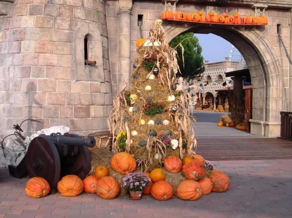 Mirabilandia in una immagine scattata nell'ottobre 2012... I colori di Halloween impazzeranno anche quest'anno nel grande parco della Riviera adriatica.