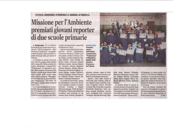 Il bell'articolo a firma di Nando Perrone, apparso sulla Gazzetta del Mezzogiorno, pubblicato a seguito del successo ottenuto da due scuole pugliesi nel concorso lanciato da Rainbow.