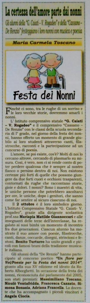 """Articolo sull'iniziativa """"Un Fiore per Voi"""" pubblicato sul periodico """"Da Biotonto""""."""