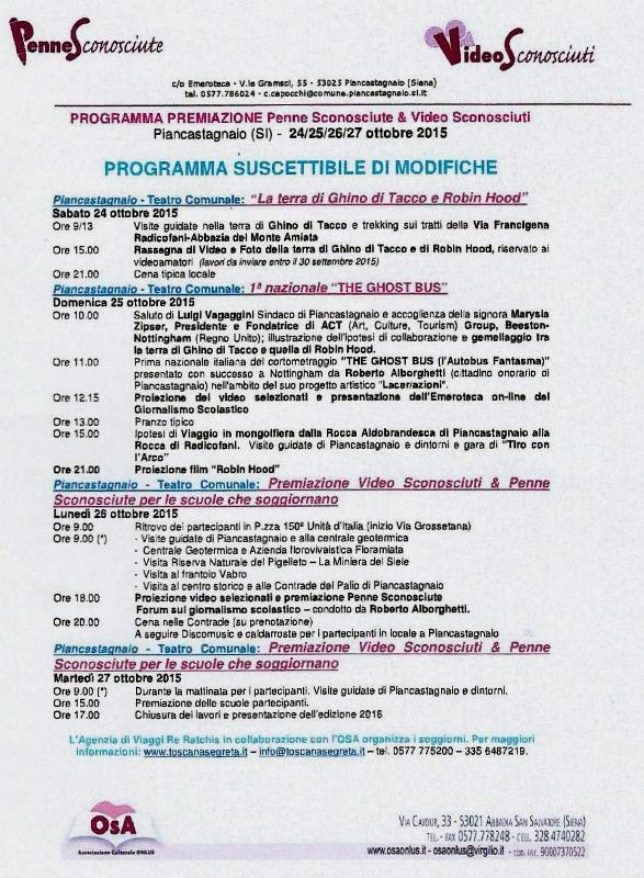 BOZZA DI PROGRAMMA PER GLI EVENTI DI PENNE E VIDEO SCONOSCIUTI 2015.