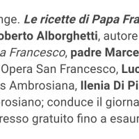 """LO SPRECO ALIMENTARE, LA TAVOLA E PAPA FRANCESCO: INCONTRO-DIBATTITO OGGI A """"CIBO A REGOLA D'ARTE"""" (MILANO, ORE 13,30)"""