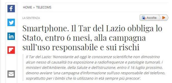 Smartphone: il Tar Lazio obbliga lo Stato ad informare sui rischi per la salute