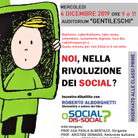 """""""Social o dis-social?"""" a Napoli all'Istituto Sup. 'Gentileschi' (4 dic 2019)"""