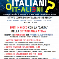 """""""ITALIANI O IT-ALIENI?"""": TRE GIORNATE IN DIRETTA WEB CON L'IC CASSANO-DE RENZIO DI BITONTO, BA"""